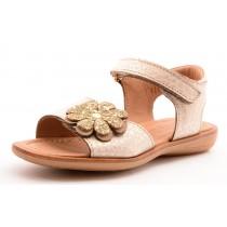 Bisgaard 70203 Mädchen Leder Sandale mit Blumen creme