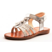 Naturino 5028 Mädchen festliche Leder Klett-Sandale silber