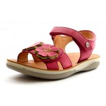 Naturino 5739 Mädchen Leder Klett-Sandale fuxia mit Blüten