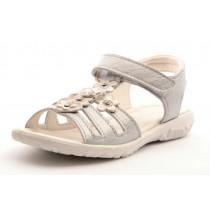 Ricosta CHICA Mädchen Leder Sandale silber mit Blümchen